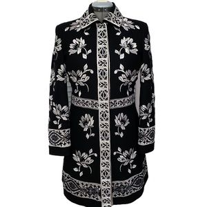 Floral Embroidered wool coat lined pockets Xl